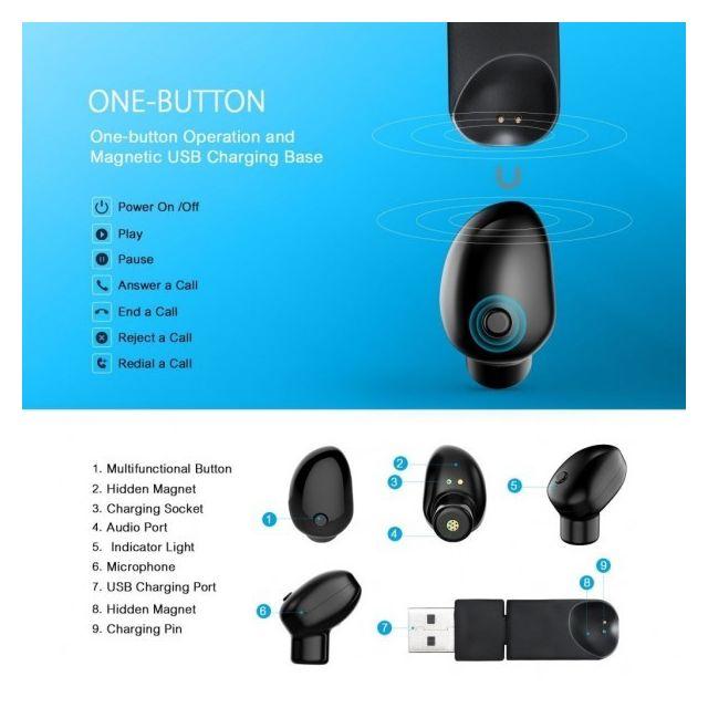 alpexe mini oreillette bluetooth 4 1 avec edr casque sans fil ecouteur mains libre avec. Black Bedroom Furniture Sets. Home Design Ideas