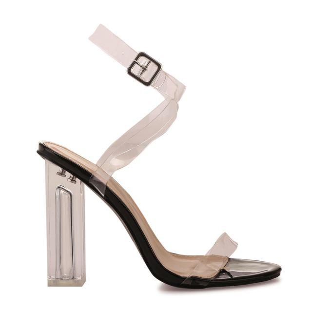 Sandales à brides noires et talon transparent