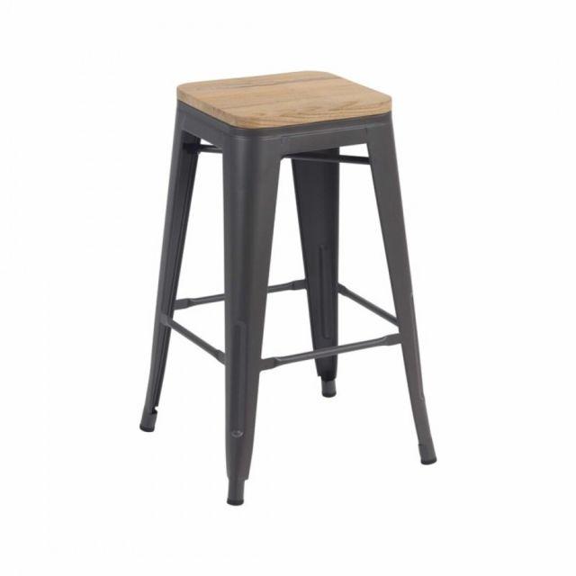 Zons Tabouret bar industriel avec assise bois manguier inspiré tolix mat H66 Gris Retro