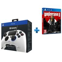 BIGBEN - Manette PS4 Nacon Revolution blanche + Wolfenstein II : The New Colossus - PS4
