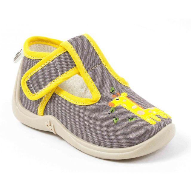 2cc272dd390fd Babybotte - Chaussons pantoufles garçon en tissu Miki beige - pas ...