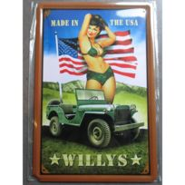 Universel - Plaque jeep willys pin up maillot bain made in usa drapeau