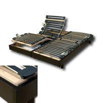 No Name - Ensemble 2 Sommiers relaxation électrique Flexpur 80x200 tête et pied relevable / Noir