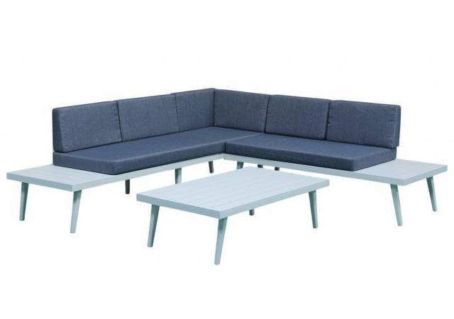 Delorm - Salon de Jardin En Aluminium Blanc et Bleu Anastasia - pas ...