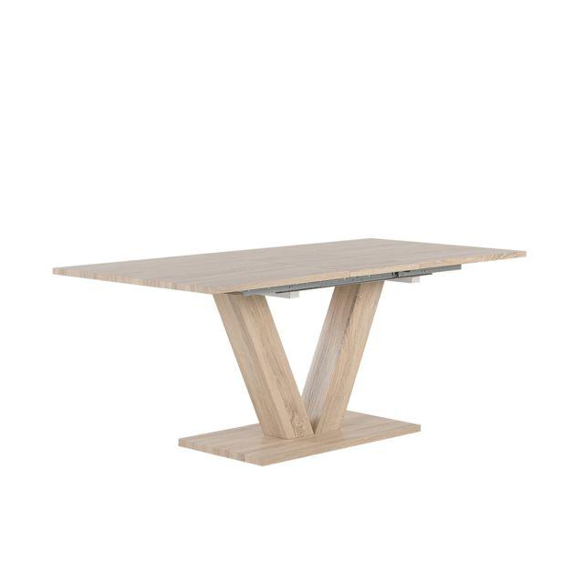 BELIANI Table extenssible blanche 140/180 x 90 cm LIXA - marron clair