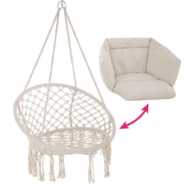 Fauteuil Hamac suspendu design 1 Place Extérieur intérieur avec Coussin confortable en Coton Beige