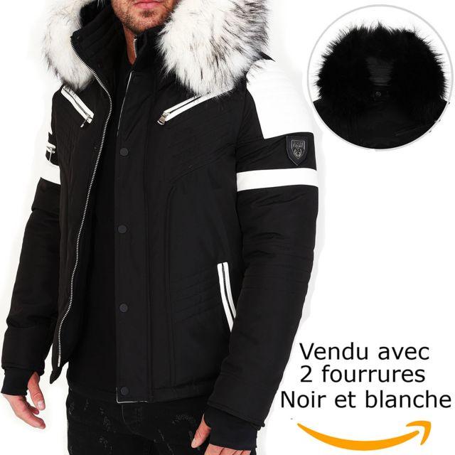 pas mal bien trouver le prix le plus bas Veste doudoune homme hiver Fury-3382 Bi-matière blanc - avec 2 col mega  fourrure inclus noir et blanc
