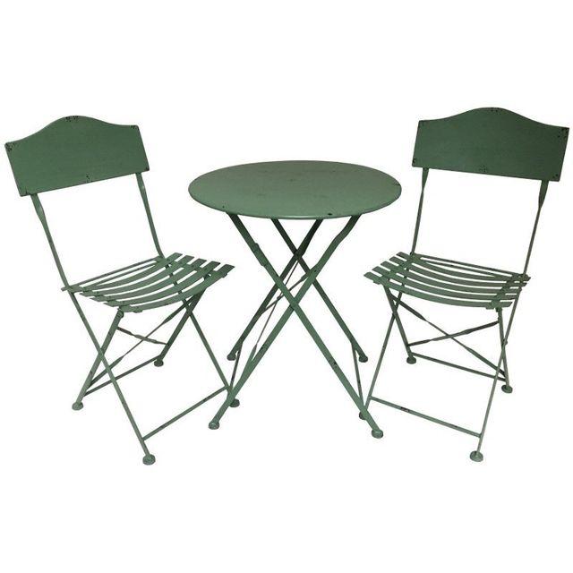 Chemin De Campagne Salon de Jardin Bistrot Chaise Table de Jardin en Fer Pliable