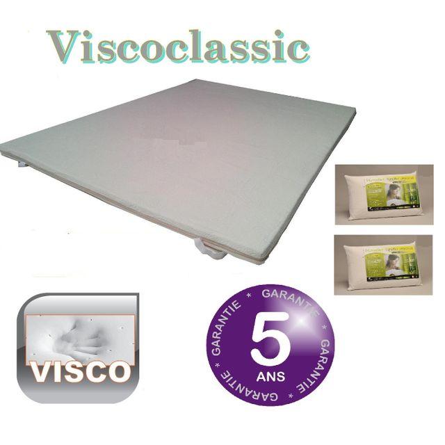 Greenbed Surmatelas mémoire de forme 90X200 Viscoclassi + 1 oreillers 60x40