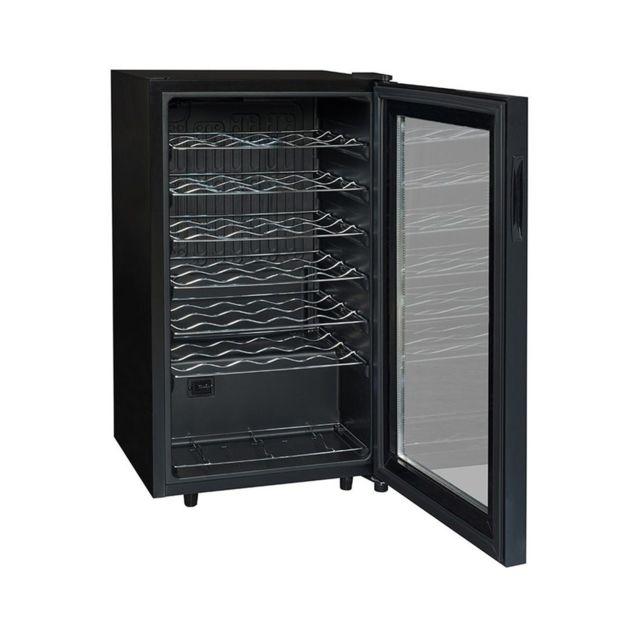 CLIMADIFF Cave de service - CLS34 - Noir Système de froid brassé - Amplitude de fonctionnement : 5-20°C - Carrosserie en tôle coloris noir - Revêtement intérieur PVC Noir - 1 porte vitrée, double vitrage transparent en verre trempé, cadre noir - Régulatio