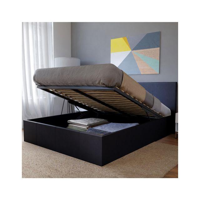 no name lit coffre barcelona 140x200 1 sommier noir pas cher achat vente structures de. Black Bedroom Furniture Sets. Home Design Ideas