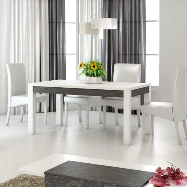 Nouvomeuble Table à manger 160 cm design blanc laqué Laurea