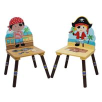 FANTASY FIELDS - Ensemble de 2 chaises Pirate Chapeau Noir et Rouge
