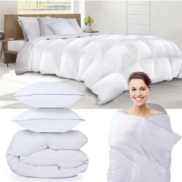 idmarket couette 200x200 cm 2 oreillers en plume d 39 oie 500g m anti acarien pas cher achat. Black Bedroom Furniture Sets. Home Design Ideas