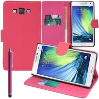 Vcomp - Housse Coque Etui portefeuille Support Video Livre rabat cuir Pu pour Samsung Galaxy A5 Sm-a500F A500H A500K/ A5 Duos Sm-a500F/DS Sm-a500G/DS A500M/DS non compatible Galaxy A5 2016 + stylet - Rose