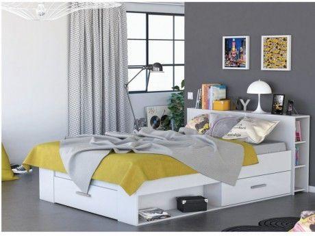 MARQUE GENERIQUE - Lit LEONIS avec rangements et tiroirs - 140x190cm - Blanc 140cm x 190cm