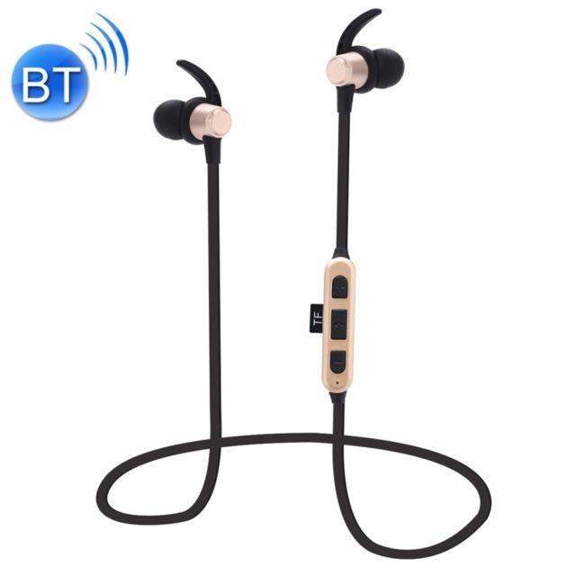 Casque Bluetooth Sport or pour iPhone, Galaxy, Huawei, Xiaomi, LG, HTC et autres téléphones intelligents carte TF, Écouteurs magnétiques sans fil