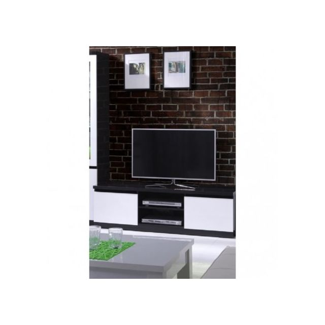 Price factory meuble tv fabio 2 portes coloris noir et blanc meuble design pour votre salon for Meuble salon noir et blanc