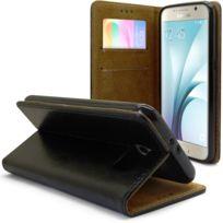 Caseink - Coque Housse Etui Folio Premium Samsung Galaxy S6 G920 Cuir Vachette italien véritable - Fabrication Europe, Stand + Portecarte Noir
