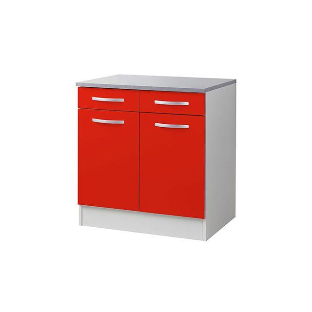 Meuble bas L80xH86xP60cm - rouge