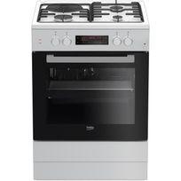 Beko - Fse63410GWP - Cuisiniere table mixte gaz / électrique - 4 foyers - Four électrique - Pyrolyse - 66L - A - L60 x H85cm - Blanc