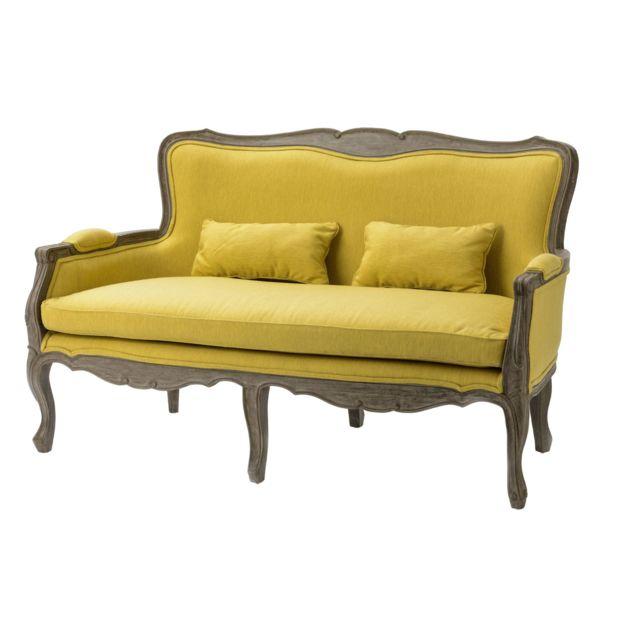 HELLIN Canapé de style en tissu et bois - ROMANCE