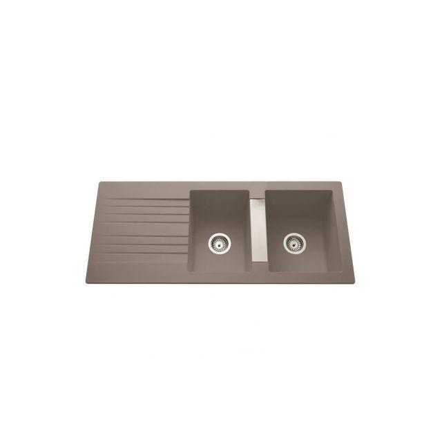 EWI Evier Soledad 2 bacs 1 /égouttoir 116x50 cm gris