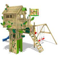 Aire De Jeux En Bois Smart Treetop Cabane Avec Toboggan Et Balançoire Double