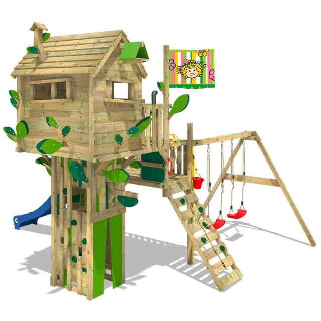 WICKEY - WICKEY Aire de jeux en bois Smart Treetop Cabane avec toboggan et  balançoire double cdb27e39ebfa