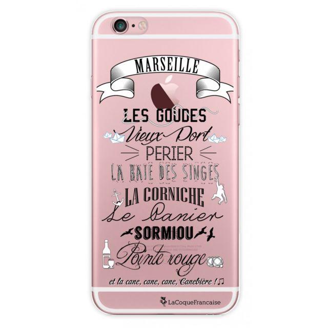 Coque iPhone 6/6S rigide transparente Quartiers de Marseille Ecriture Tendance et Design