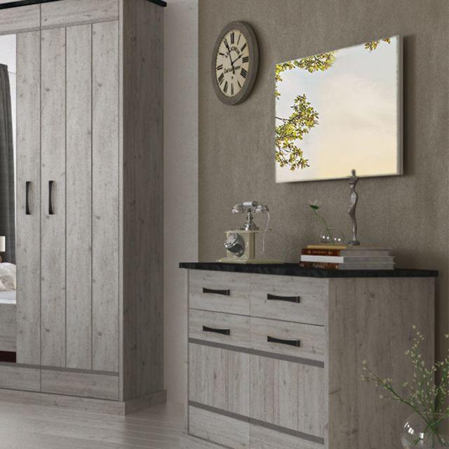 Nouvomeuble Miroir mural contemporain couleur bois gris Morgane