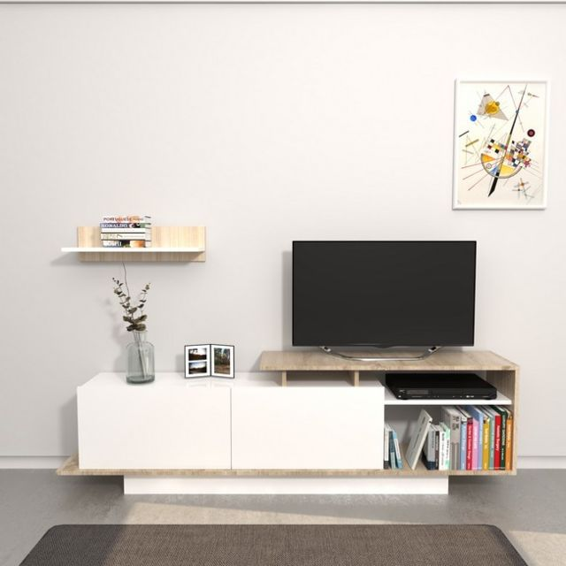 Homemania Meuble Tv Martin - avec Étagère, Compartiments, Portes - pour Salon - Blanc, Sonoma en Bois, 180 x 30 x 53,2 cm