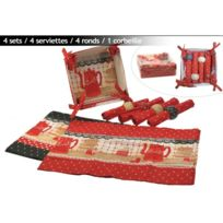 Revimport - Sets de table 13 P tissu rouge décor Cafetiere