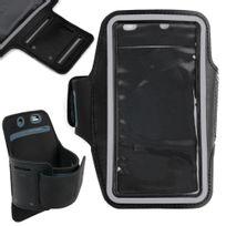 Duragadget - Brassard de sport / course / jogging noir pour smartphone, Mp3/MP4 155 x 75 mm