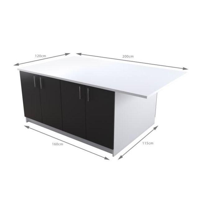 Ilot Central Obi Ilot central avec plan de travail L 160 cm - Blanc et gris  mat