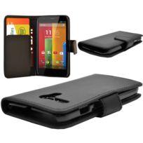 Vcomp - Housse Coque Etui portefeuille cuir Pu pour Motorola Moto G X1032/ Forte/ Grip Shell/ Lte 4G - Noir