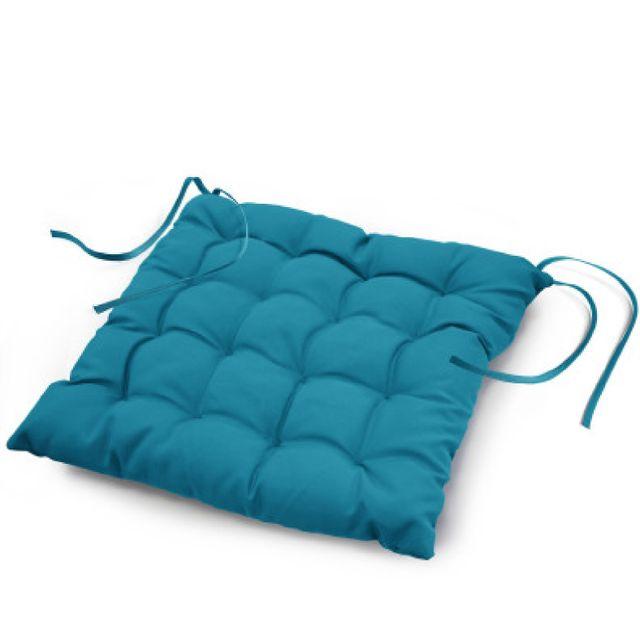 Douceur D'INTERIEUR Coussin de chaise assise matelassé 40 x 40 cm bleu outremer