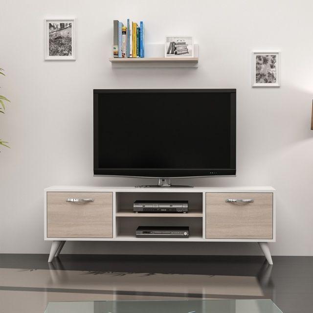 Meuble Tv Horus Moderne Avec Portes Etageres Pour Salon Blanc Sonoma En Bois 120 X 30 X 45 Cm