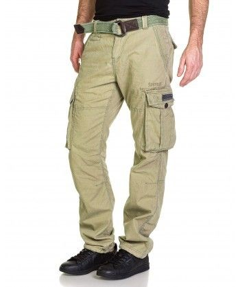 Deeluxe - Pantalon homme cargo olive avec ceinture - pas cher Achat ... 5fa8e068a28