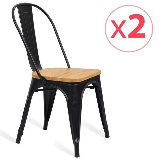 Novara Mobili Pack 2 chaises en métal Lix Style Noir Shade