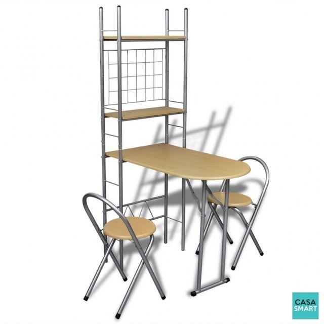 Casasmart Ensemble table acier pliable + 2 chaises