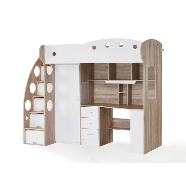 somobilia lit combin avec bureau blanc ch ne et. Black Bedroom Furniture Sets. Home Design Ideas