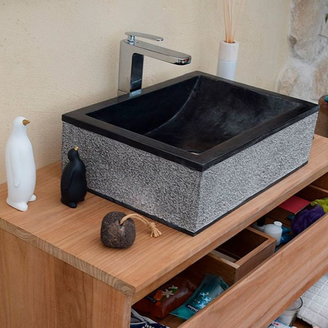 Ocean Line - Vasque de salle de bain à poser en marbre noir rectangle 50 cm 77668b6ec7e9
