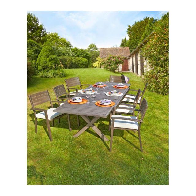 CARREFOUR - Table de jardin extensible Honfleur - 160/260x100x75cm ...