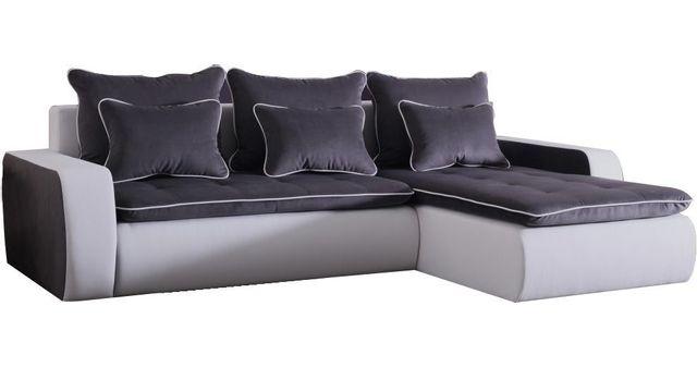 COMFORIUM - Canapé d angle 3 places convertible en tissu gris foncé ... 5dee38dd3cda