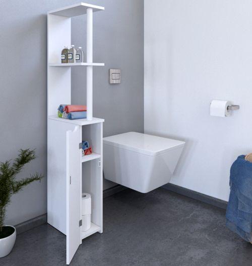 No Name - Meuble de toilettes 1 porte - 2 niches Siberia / Blanc ...