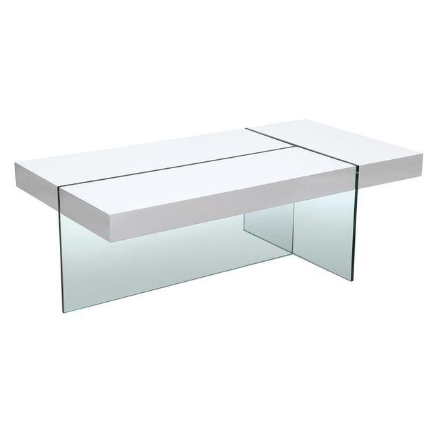Axe Design Table basse rectangulaire en bois et verre trempé L120cm Medley - Blanc
