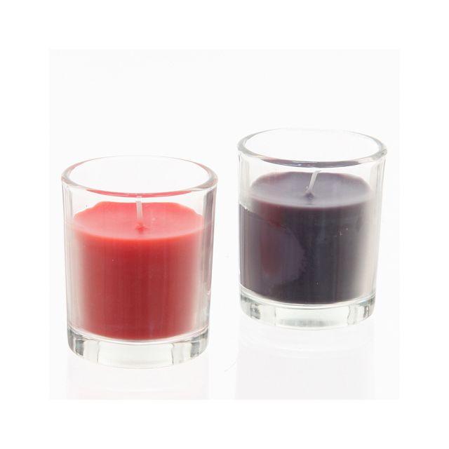 Comptoir Des Bougies Lot de 2 bougies Tubes en verre - Corail et gris