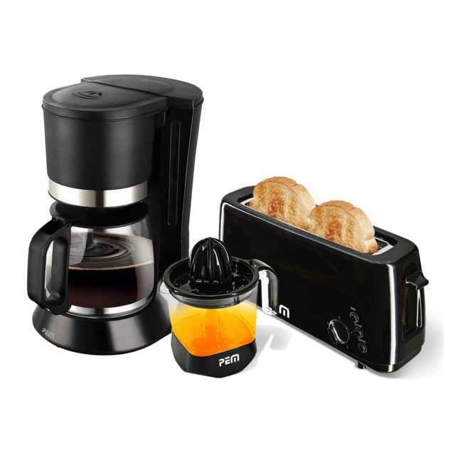 Pem Kit petit déjeuner - Cafetière + Grille pain longue fente + Presse-agrumes Xxl 1L - Kt-371