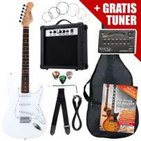 Rocktile - St Pack guitare électrique en blanc Set incl ampli, housse, accordeur, câble, sangle